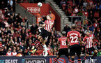 SOUTHAMPTON, ENGLAND - AUGUST 12: Jannik Vestergaard goes for the header (middle) during the Premier League match between Southampton FC and Burnley FC at St Mary's Stadium on August 12, 2018 in Southampton, United Kingdom. (Photo by James Bridle - Southampton FC/Southampton FC via Getty Images)
