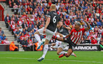 SOUTHAMPTON, ENGLAND - AUGUST 12: Mario Lemina of Southampton looks to get on the end of a cross during the Premier League match between Southampton FC and Burnley FC at St Mary's Stadium on August 12, 2018 in Southampton, United Kingdom. (Photo by Matt Watson/Southampton FC via Getty Images)