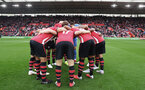 SOUTHAMPTON, ENGLAND - AUGUST 12: the huddle of Southampton during the Premier League match between Southampton FC and Burnley FC at St Mary's Stadium on August 12, 2018 in Southampton, United Kingdom. (Photo by Matt Watson/Southampton FC via Getty Images)