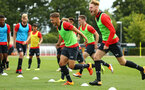 SOUTHAMPTON, ENGLAND - AUGUST 15: LtoR Harry Hamblin, Jamie Bradly Green, pictured at Staplewood Complex on August 15, 2018 in Southampton, England. (Photo by James Bridle - Southampton FC/Southampton FC via Getty Images)