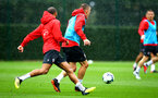 SOUTHAMPTON, ENGLAND - AUGUST 16: LtoR Nathan Redmond, James Ward-Prowse during a Southampton FC training session at Staplewood Complex on August 16, 2018 in Southampton, England. (Photo by James Bridle - Southampton FC/Southampton FC via Getty Images)