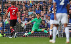 LIVERPOOL, ENGLAND - AUGUST 18: Alex McCarthy of Southampton forces a shot wide during the Premier League match between Everton FC and Southampton FC at Goodison Park on August 18, 2018 in Liverpool, United Kingdom. (Photo by Matt Watson/Southampton FC via Getty Images)