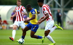 LONDON, ENGLAND - AUGUST 20: Michael Obafemi (middle) during an U23 Pl2 match between Southampton FC and Stoke City Clayton Training Ground on August 20, 2018 in Stoke, England. (Photo by James Bridle - Southampton FC/Southampton FC via Getty Images)