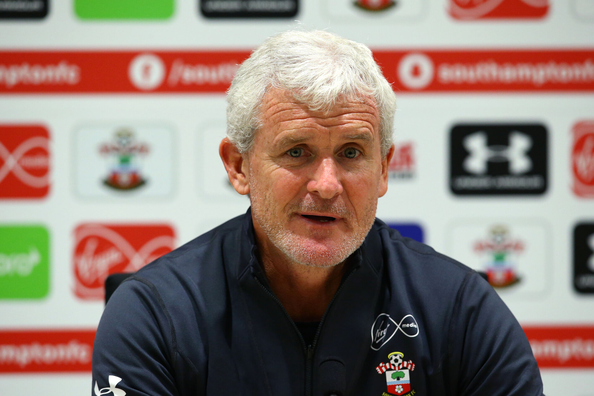 SOUTHAMPTON, ENGLAND - AUGUST 23: Mark Hughes during a Southampton FC Press conference at Staplewood Complex on August 23, 2018 in Southampton, England. (Photo by James Bridle - Southampton FC/Southampton FC via Getty Images)