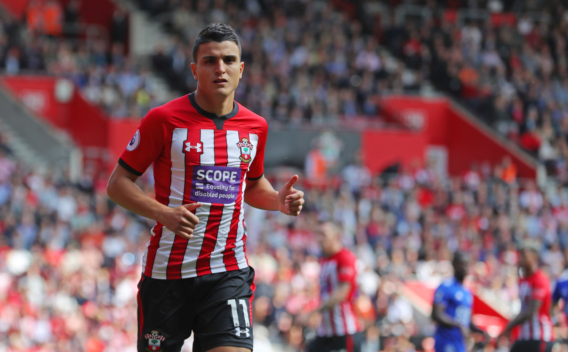 SOUTHAMPTON, ENGLAND - AUGUST 25: Mohamed Elyounoussi of Southampton during the Premier League match between Southampton FC and Leicester City at St Mary's Stadium on August 25, 2018 in Southampton, United Kingdom. (Photo by Matt Watson/Southampton FC via Getty Images)