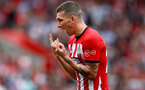 SOUTHAMPTON, ENGLAND - AUGUST 25: Pierre-Emile Hojbjerg of Southampton reacts after being shown a red card during the Premier League match between Southampton FC and Leicester City at St Mary's Stadium on August 25, 2018 in Southampton, United Kingdom. (Photo by Matt Watson/Southampton FC via Getty Images)