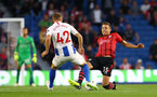 BRIGHTON, ENGLAND - AUGUST 28: Jan Bednarek(R) of Southampton and Victor Gyokeres of Brighton during the Carabao Cup Second Round match between Brighton & Hove Albion and Southampton at American Express Community Stadium on August 28, 2018 in Brighton, England. (Photo by Matt Watson/Southampton FC via Getty Images)
