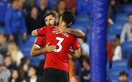 BRIGHTON, ENGLAND - AUGUST 28: Charlie Austin(L) and Maya Yoshida of Southampton during the Carabao Cup Second Round match between Brighton & Hove Albion and Southampton at American Express Community Stadium on August 28, 2018 in Brighton, England. (Photo by Matt Watson/Southampton FC via Getty Images)