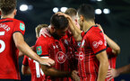 BRIGHTON, ENGLAND - AUGUST 28: LtoR Charlie Austin, Matt Target, Mohamed Elyounoussi during the Carabao Cup Second Round match between Brighton & Hove Albion and Southampton at American Express Community Stadium on August 28, 2018 in Brighton, England. (Photo by James Bridle - Southampton FC/Southampton FC via Getty Images)