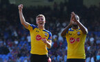 LONDON, ENGLAND - SEPTEMBER 01: Matt Targett(L) and Ryan Bertrand of Southampton celebrate during the Premier League match between Crystal Palace and Southampton FC at Selhurst Park on September 1, 2018 in London, United Kingdom. (Photo by Matt Watson/Southampton FC via Getty Images)