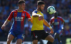 LONDON, ENGLAND - SEPTEMBER 01: Shane Long(R) of Southampton and Martin Kelly of Crystal Palace during the Premier League match between Crystal Palace and Southampton FC at Selhurst Park on September 1, 2018 in London, United Kingdom. (Photo by Matt Watson/Southampton FC via Getty Images)