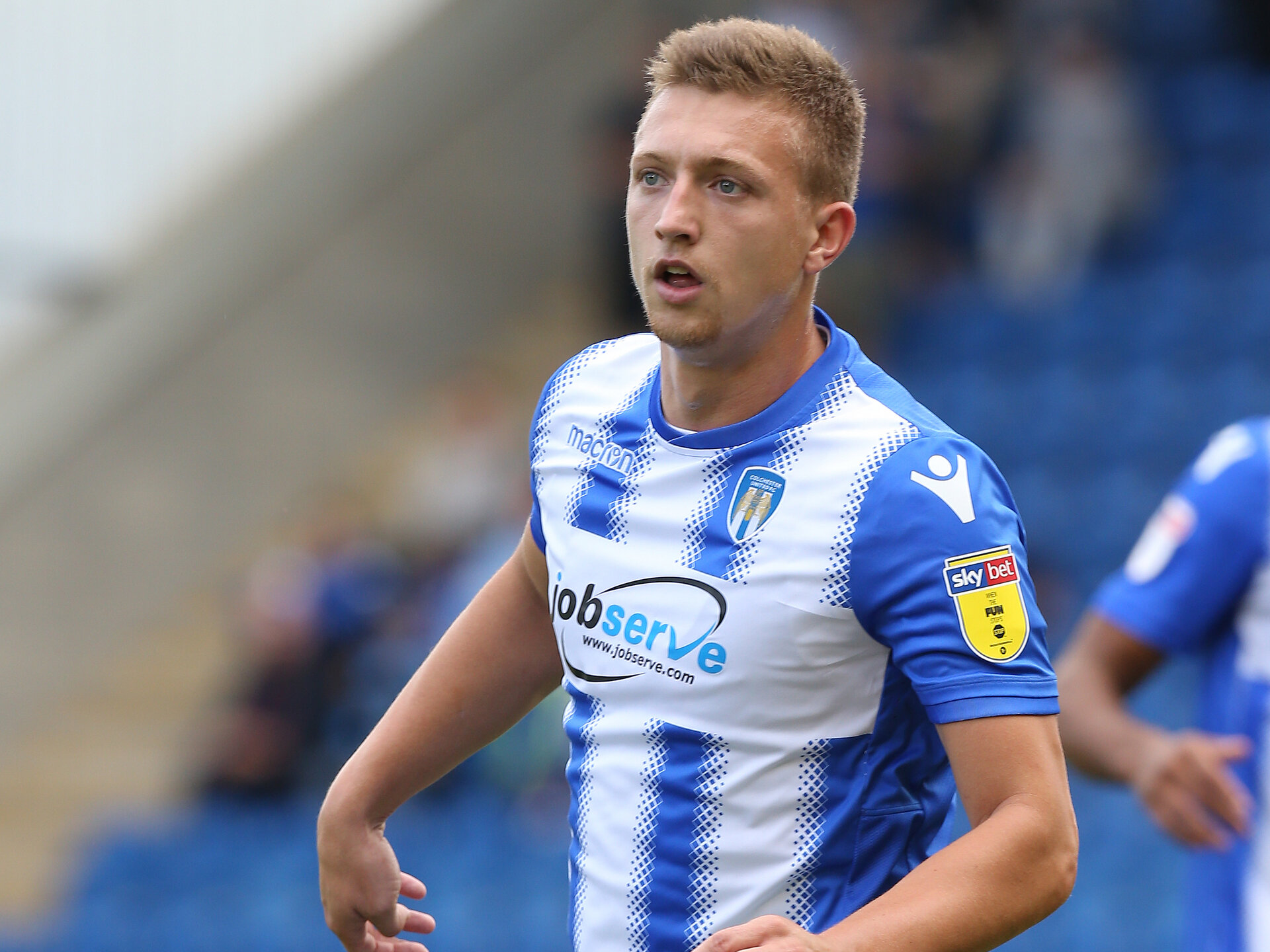 COLCHESTER, ENGLAND - AUGUST 25: Luke Norris of Colchester United in action during the Sky Bet League Two match between Colchester United and Northampton Town at Jobserve Community Stadium on August 25, 2018 in Colchester, United Kingdom. (Photo by Pete Norton/Getty Images)