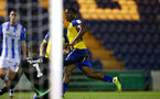 COLCHESTER, ENGLAND - SEPTEMBER 04: Michael Obafemi scores during the Check a Trade Cup match between Colchester United vs Southampton FC at Jobserve Community Stadium on September 04, 2018 in Colchester, England. (Photo by James Bridle - Southampton FC/Southampton FC via Getty Images)
