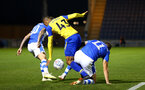COLCHESTER, ENGLAND - SEPTEMBER 04: Yan Valery (middle) during the Check a Trade Cup match between Colchester United vs Southampton FC at Jobserve Community Stadium on September 04, 2018 in Colchester, England. (Photo by James Bridle - Southampton FC/Southampton FC via Getty Images)