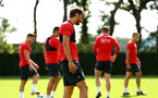 SOUTHAMPTON, ENGLAND - NOVEMBER 21: Manolo Gabbiadini (middle) during a first team training session at Staplewood training ground on November 21, 2017 in Southampton, England. (Photo by James Bridle - Southampton FC/Southampton FC via Getty Images)