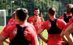 SOUTHAMPTON, ENGLAND - NOVEMBER 21: Wesley Hoedt (middle) during a first team training session at Staplewood training ground on November 21, 2017 in Southampton, England. (Photo by James Bridle - Southampton FC/Southampton FC via Getty Images)