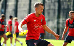 SOUTHAMPTON, ENGLAND - NOVEMBER 21: James Ward-Prowse (middle) during a first team training session at Staplewood training ground on November 21, 2017 in Southampton, England. (Photo by James Bridle - Southampton FC/Southampton FC via Getty Images)