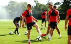 SOUTHAMPTON, ENGLAND - NOVEMBER 21: Matt Target (left) , during a first team training session at Staplewood training ground on November 21, 2017 in Southampton, England. (Photo by James Bridle - Southampton FC/Southampton FC via Getty Images)