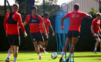 SOUTHAMPTON, ENGLAND - NOVEMBER 21: Maya Yoshida (middle) during a first team training session at Staplewood training ground on November 21, 2017 in Southampton, England. (Photo by James Bridle - Southampton FC/Southampton FC via Getty Images)