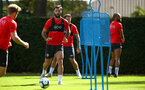 SOUTHAMPTON, ENGLAND - NOVEMBER 21: Charlie Austin (middle) during a first team training session at Staplewood training ground on November 21, 2017 in Southampton, England. (Photo by James Bridle - Southampton FC/Southampton FC via Getty Images)