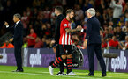 SOUTHAMPTON, ENGLAND - SEPTEMBER 17: Danny Ings comes off and shakes hands with manager Mark Hughes (right) during the Premier League match between Southampton FC and Brighton & Hove Albion at St Mary's Stadium on September 17, 2018 in Southampton, United Kingdom. (Photo by James Bridle - Southampton FC/Southampton FC via Getty Images)