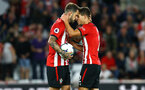 SOUTHAMPTON, ENGLAND - SEPTEMBER 17: Danny Ings (left) Cedric (right) of Southampton FC during the Premier League match between Southampton FC and Brighton & Hove Albion at St Mary's Stadium on September 17, 2018 in Southampton, United Kingdom. (Photo by James Bridle - Southampton FC/Southampton FC via Getty Images)