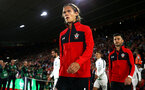 SOUTHAMPTON, ENGLAND - SEPTEMBER 17: Jannik Vestergaard of Southampton FC  ahead of Kick off for  the Premier League match between Southampton FC and Brighton & Hove Albion at St Mary's Stadium on September 17, 2018 in Southampton, United Kingdom. (Photo by James Bridle - Southampton FC/Southampton FC via Getty Images)
