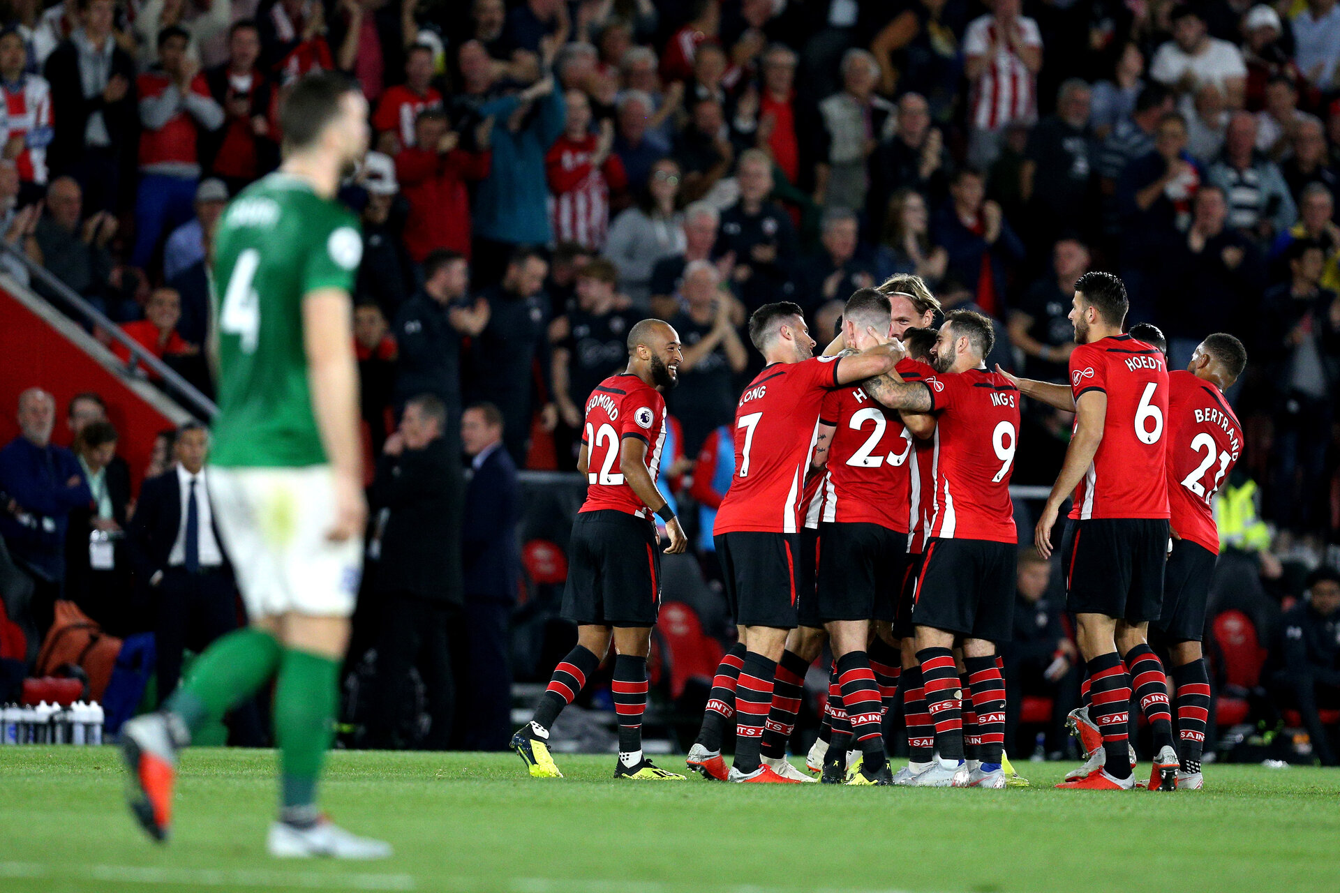 SOUTHAMPTON, ENGLAND - SEPTEMBER 17: Pierre-Emile Hojbjerg of Southampton celebrates after scoring his team's first goal with his team mates as Shane Duffy of Brighton and Hove Albion looks dejected during the Premier League match between Southampton FC and Brighton & Hove Albion at St Mary's Stadium on September 17, 2018 in Southampton, United Kingdom.  (Photo by Southampton FC/Southampton FC via Getty Images) *** Local Caption *** Pierre-Emile Hojbjerg SOUTHAMPTON, ENGLAND - SEPTEMBER 17: Pierre-Emile Hojbjerg of Southampton celebrates after scoring his team's first goal with his team mates as Shane Duffy of Brighton and Hove Albion looks dejected during the Premier League match between Southampton FC and Brighton & Hove Albion at St Mary's Stadium on September 17, 2018 in Southampton, United Kingdom.  (Photo by Southampton FC/Southampton FC via Getty Images)