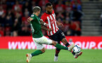 SOUTHAMPTON, ENGLAND - SEPTEMBER 17: Ryan Bertrand of Southampton is challenged by Anthony Knockaert of Brighton and Hove Albion during the Premier League match between Southampton FC and Brighton & Hove Albion at St Mary's Stadium on September 17, 2018 in Southampton, United Kingdom.  (Photo by Southampton FC/Southampton FC via Getty Images) *** Local Caption *** Anthony Knockaert, Ryan Bertrand SOUTHAMPTON, ENGLAND - SEPTEMBER 17: Ryan Bertrand of Southampton is challenged by Anthony Knockaert of Brighton and Hove Albion during the Premier League match between Southampton FC and Brighton & Hove Albion at St Mary's Stadium on September 17, 2018 in Southampton, United Kingdom.  (Photo by Southampton FC/Southampton FC via Getty Images)