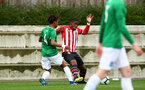 SOUTHAMPTON, ENGLAND - SEPTEMBER 22: Kayne Ramsay (middle) during the U18 Premier League match between Southampton FC and Brighton Hove Albion at Staplewood Training Ground on September 22, 2018 in Southampton, United Kingdom. (Photo by James Bridle - Southampton FC/Southampton FC via Getty Images)