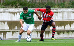 SOUTHAMPTON, ENGLAND - SEPTEMBER 22: Kayne Ramsay (right) during the U18 Premier League match between Southampton FC and Brighton Hove Albion at Staplewood Training Ground on September 22, 2018 in Southampton, United Kingdom. (Photo by James Bridle - Southampton FC/Southampton FC via Getty Images)