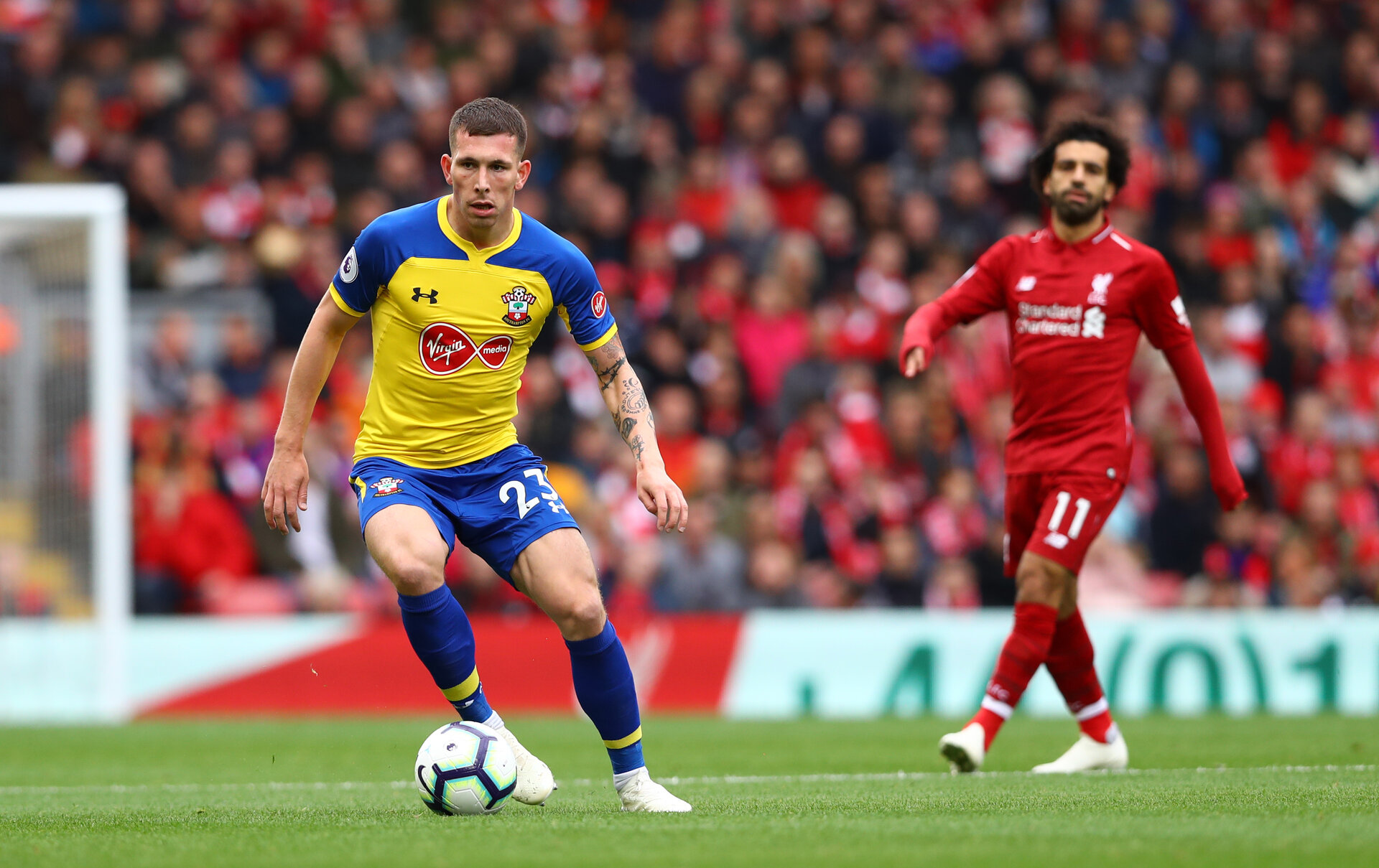 LIVERPOOL, ENGLAND - SEPTEMBER 22: Pierre-Emile Hojbjerg of Southampton during the Premier League match between Liverpool FC and Southampton FC at Anfield on September 22, 2018 in Liverpool, United Kingdom. (Photo by Matt Watson/Southampton FC via Getty Images)