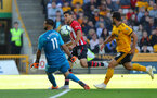 WOLVERHAMPTON, ENGLAND - SEPTEMBER 29: Mohamed Elyounoussi of Southampton is denied by Wolves keeper Rui Patricio during the Premier League match between Wolverhampton Wanderers and Southampton FC at Molineux on September 29, 2018 in Wolverhampton, United Kingdom. (Photo by Matt Watson/Southampton FC via Getty Images)