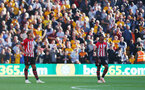 WOLVERHAMPTON, ENGLAND - SEPTEMBER 29: Jannik Vestergaard(L) and Mario Lemina of Southampton during the Premier League match between Wolverhampton Wanderers and Southampton FC at Molineux on September 29, 2018 in Wolverhampton, United Kingdom. (Photo by Matt Watson/Southampton FC via Getty Images)