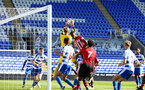 SOUTHAMPTON, ENGLAND - SEPTEMBER 29: Kayne Ramsay jumps to make contact with the ball (middle) during a PL2 U23s match where Reading FC play Southampton FC at Madjeski Stadium on September 29, 2018 in Reading, England. (Photo by James Bridle - Southampton FC/Southampton FC via Getty Images)
