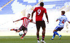 SOUTHAMPTON, ENGLAND - SEPTEMBER 29: Ben Rowthron of Southampton FC  (left) during a PL2 U23s match where Reading FC play Southampton FC at Madjeski Stadium on September 29, 2018 in Reading, England. (Photo by James Bridle - Southampton FC/Southampton FC via Getty Images)