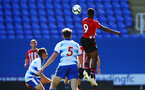 SOUTHAMPTON, ENGLAND - SEPTEMBER 29: Michael Obafemi (right) heads the ball for Southampton FC during a PL2 U23s match where Reading FC play Southampton FC at Madjeski Stadium on September 29, 2018 in Reading, England. (Photo by James Bridle - Southampton FC/Southampton FC via Getty Images)