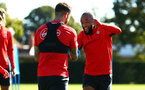 SOUTHAMPTON, ENGLAND - OCTOBER 01: LtoR Danny Ings, Nathan Redmond during a Southampton FC training session at Staplewood Complex on October 1, 2018 in Southampton, England. (Photo by James Bridle - Southampton FC/Southampton FC via Getty Images)