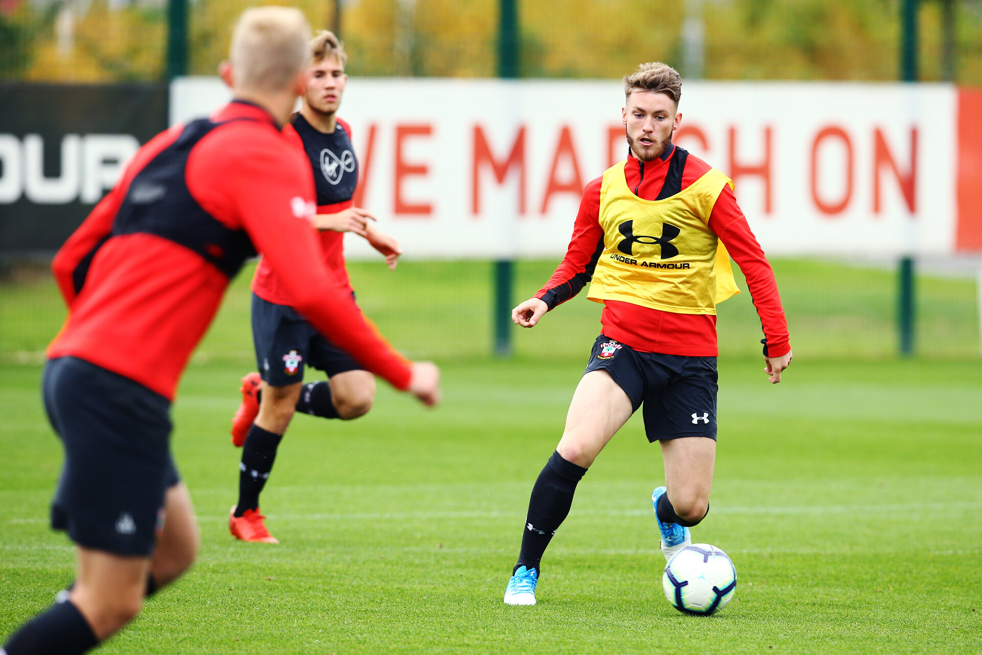 SOUTHAMPTON, ENGLAND - OCTOBER 02: Callum Slattery (right) during an U23 Southampton FC training session at Staplewood Complex on October 2, 2018 in Southampton, England. (Photo by James Bridle - Southampton FC/Southampton FC via Getty Images)