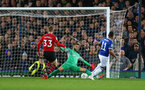 LIVERPOOL, ENGLAND - OCTOBER 02: Angus Gunn of Southampton is beaten by Theo Walcott who equalises for Everton during the Carabao Cup Third Round match between Everton and Southampton at Goodison Park on October 2nd, 2018 in Liverpool, England. (Photo by Matt Watson/Southampton FC via Getty Images)