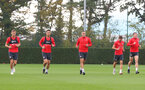 SOUTHAMPTON, ENGLAND - OCTOBER 05: L to R, Jan Bednarek, Maya Yoshida, Oriol Romeu, Cedric and Pierre-Emile Hojbjerg during a Southampton FC training session at the Staplewood Campus on October 5, 2018 in Southampton, England. (Photo by Matt Watson/Southampton FC via Getty Images)