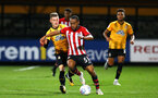 CAMBRIDGE, ENGLAND - OCTOBER 09: Tyreke Jonhson (middle) during the U21s Checkatade Trophy between Cambridge United and Southampton FC pictured at Abbey Stadium on October 9, 2018 in Cambridge, England. (Photo by James Bridle - Southampton FC/Southampton FC via Getty Images)