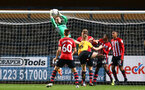 CAMBRIDGE, ENGLAND - OCTOBER 09: Harry Lewis Save (Middle) of Southampton FC during the U21s Checkatade Trophy between Cambridge United and Southampton FC pictured at Abbey Stadium on October 9, 2018 in Cambridge, England. (Photo by James Bridle - Southampton FC/Southampton FC via Getty Images)