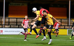 CAMBRIDGE, ENGLAND - OCTOBER 09: Nathan Tella (header) (middle) during the U21s Checkatade Trophy between Cambridge United and Southampton FC pictured at Abbey Stadium on October 9, 2018 in Cambridge, England. (Photo by James Bridle - Southampton FC/Southampton FC via Getty Images)