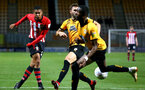CAMBRIDGE, ENGLAND - OCTOBER 09: Yan Vaklery (left) during the U21s Checkatade Trophy between Cambridge United and Southampton FC pictured at Abbey Stadium on October 9, 2018 in Cambridge, England. (Photo by James Bridle - Southampton FC/Southampton FC via Getty Images)