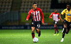 CAMBRIDGE, ENGLAND - OCTOBER 09: Yan Valery (middle) of Southampton FC during the U21s Checkatade Trophy between Cambridge United and Southampton FC pictured at Abbey Stadium on October 9, 2018 in Cambridge, England. (Photo by James Bridle - Southampton FC/Southampton FC via Getty Images)