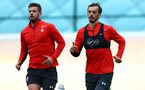 SOUTHAMPTON, ENGLAND - OCTOBER 15: Jack Stephens(L) and Manolo Gabbiadini during a Southampton FC training session at the Staplewood Campus, on October 15, 2018 in Southampton, England. (Photo by Matt Watson/Southampton FC via Getty Images)