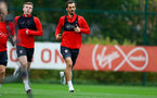 SOUTHAMPTON, ENGLAND - OCTOBER 15: Matt Targett(L) and Manolo Gabbiadini during a Southampton FC training session at the Staplewood Campus, on October 15, 2018 in Southampton, England. (Photo by Matt Watson/Southampton FC via Getty Images)