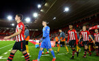 SOUTHAMPTON, ENGLAND - OCTOBER 19: Jack Rose, Yan Valery, Christoph Klarer Walk out ahead of the PL2 match between Southampton FC and Wolves pictured at St Mary's Stadium on October 19, 2018 in Southampton, England. (Photo by James Bridle - Southampton FC/Southampton FC via Getty Images)