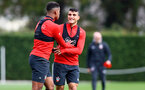 SOUTHAMPTON, ENGLAND - OCTOBER 25: Mario Lemina(L) and Mohamed Elyounoussi during a Southampton FC training session at the Staplewood Campus on October 25, 2018 in Southampton, United Kingdom. (Photo by Matt Watson/Southampton FC via Getty Images)